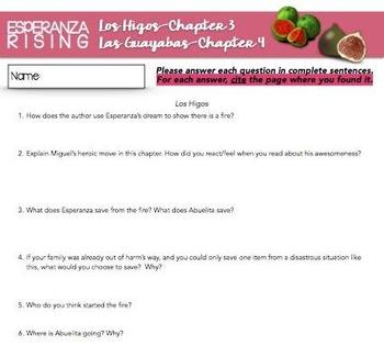 Esperanza Rising: Study Guide - Chapter 3 & 4 {Los Higos & Las Guayabas}