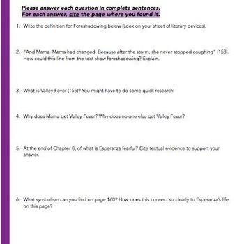 Esperanza Rising: Study Guide - Chapter 8 & 9 {Las Cireulas & Las Papas}