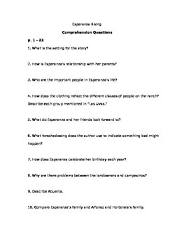 Esperanza Rising Study Questions and Quizzes