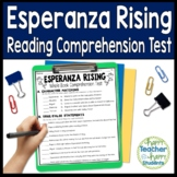 Esperanza Rising Test: Final Book Quiz with Answer Key