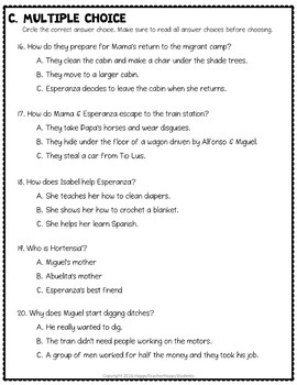 Esperanza Rising Test: Final Book Quiz with Answer Key