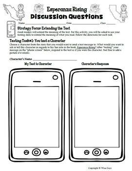 Esperanza Rising Text Messaging Reading Activity