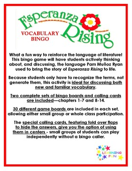Esperanza Rising Vocabulary Bingo