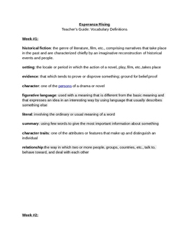 Esperanza Rising Vocabulary Teacher's Guide