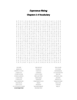 Esperanza Rising Vocabulary Word Search for Chapters 1-4