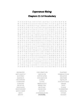 Esperanza Rising Vocabulary Word Search for Chapters 11-14