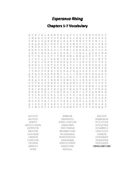 Esperanza Rising Vocabulary Word Search for Chapters 5-7