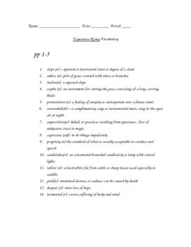 Esperanza Rising Vocabulary Words & Definitions