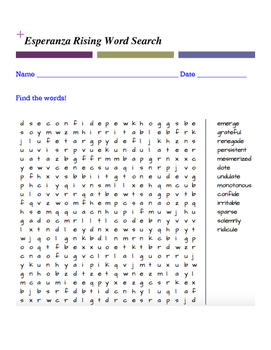 Esperanza Rising Word Search