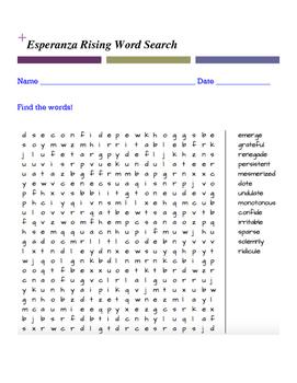 Esperanza Rising Word Search