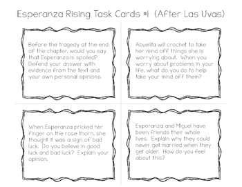 Esperanza Rising Pack: Prompts, Quizzes, Vocab, Task Cards, & Character Analysis