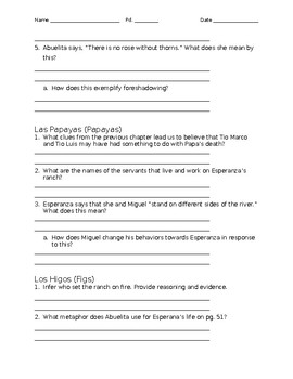 Esperanza Rising questions by chapter
