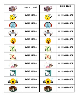 Espressioni con avere Italian verb Dominoes