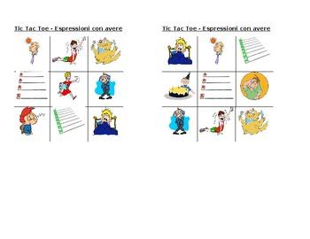Espressioni con avere Italian verb Tic Tac Toe