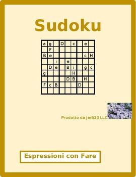 Espressioni con fare Italian verb Sudoku
