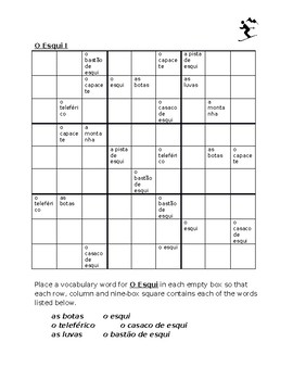 Esqui (Skiing in Portuguese) Sudoku
