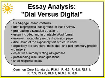 Essay Analysis Dial Versus Digital Promethean Common Core