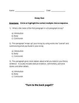 Essay Basics Quiz