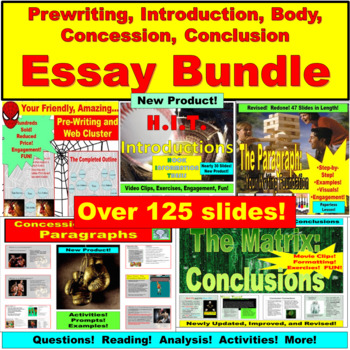 Essay Bundle: Prewriting, Introduction, Body Paragraph, Concession, Conclusion