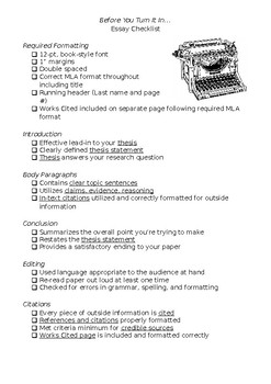 essay checklist for high school essays by miss haaland  tpt
