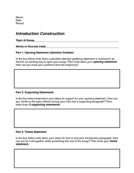 Essay Construction Guide By Lakefront U  Teachers Pay Teachers Essay Construction Guide