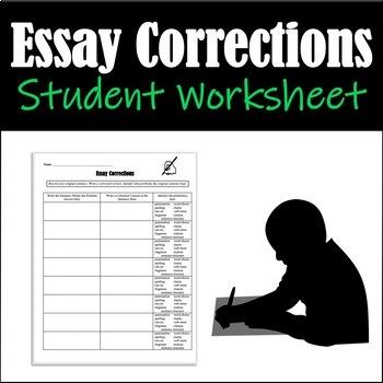 Essay Corrections Student Worksheet