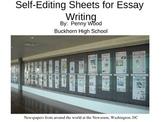 English Essay Editing Charts for Student Self Edits