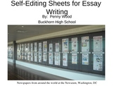 English Essay Editing Charts for Student Self Edits