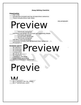 Essay Editing Checklist
