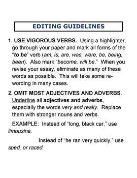 Editing Guidelines for Essays