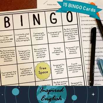 Essay Editing and Revising BINGO