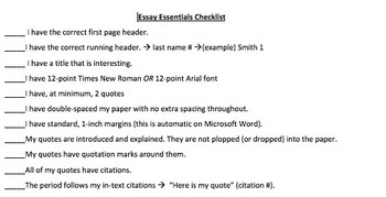 Essay Essentials Checklist
