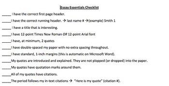 Essay Essentials Checklist