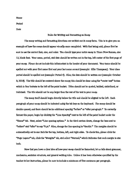 Essay Formatting and Writing Guidelines