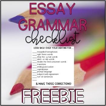 Essay Grammar Checklist Freebie