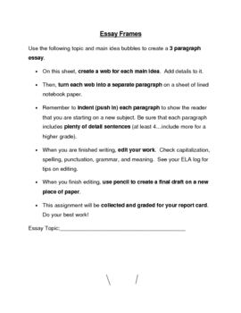 Essay Graphic Organizer and Student Directions for Writing Process