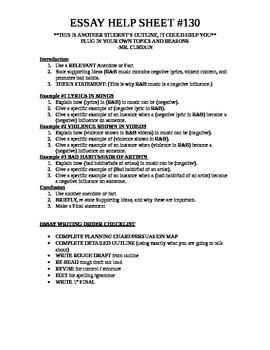 Essay Help Planning Sheet