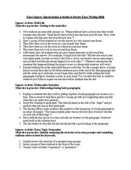 Essay Improv: Improvisation Activities to  Review Essay-Writing Skills