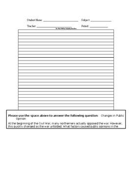 Essay / Open Response - Civil War & Public Opinion
