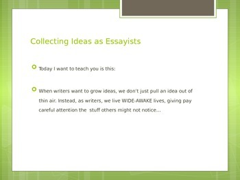 Essay PPT - Based on Lucy Calkins Unit Breathing Life Into Essays