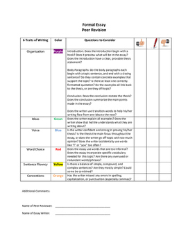 Essay: Peer Editing Checklist