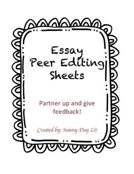 Essay Peer Editing Sheets
