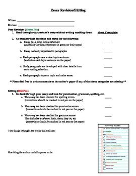 Essay Peer Revision/Editing Checklist
