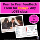 Essay: Peer to Peer Feedback Form for any language