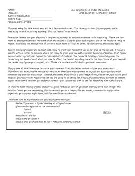 Essay: Persuasive Letter