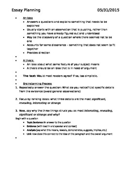 Essay Planning