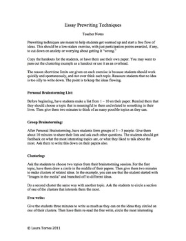 Essay Prewriting Techniques