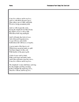 Essay Prompt Comparing 4 Renaissance Poems w/ Poems on document