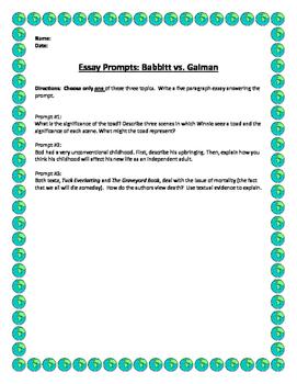 Essay Prompts: Babbitt vs. Gaiman