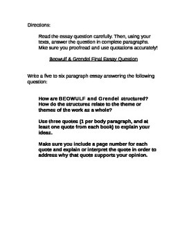 Essay Question using Beowulf and Grendel by John Gardner